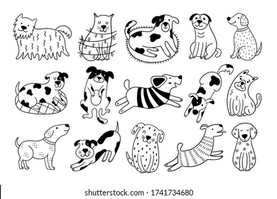 Collection of cute dogs. Set of 15 doodle pets on a white background. Hand-drawn vector illustration with black and white dogs.