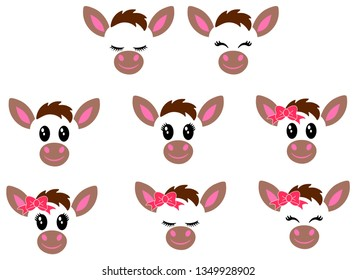 A collection of cute donkey heads. Looks good on various items.