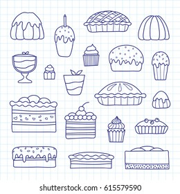 Collection of cute doodle outline cakes for birthday, easter, party, sweet cafe isolated on graph paper background.