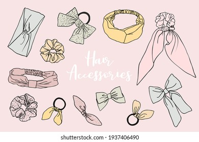 Collection of cute doodled vector hair accessories like scrunchies and hair bands on background.