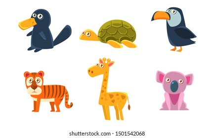 Collection of Cute Exotic Animals, Tiger, Giraffe, Koala, Platypus, Turtle, Toucan. Vector Illustration.