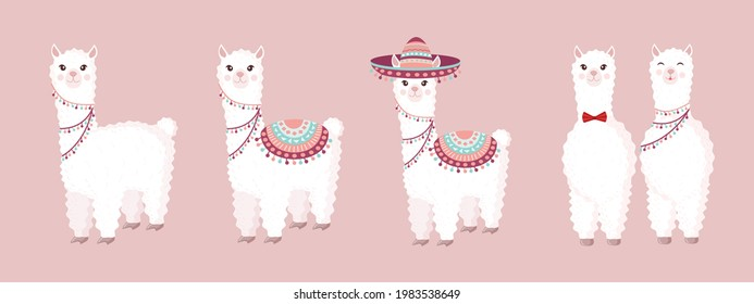 Collection of cute and festive llamas and alpacas on a pink background. Set of decorative elements for your design of a postcard, poster, wrapping paper, textiles, patern.