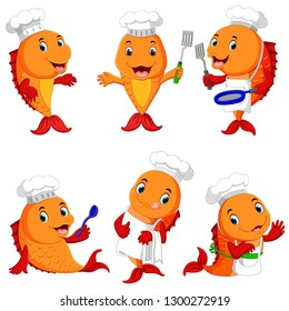 collection of cute fish chef cartoon