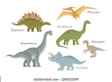 Collection of cute flat dinosaurs. Jurassic period creatures. Vector illustration isolated on white.