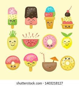 collection of cute food. summer. kawaii