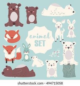 Collection Of Cute Forest And Polar Animals With Baby Cubs Including Bear Fox