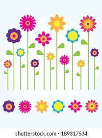 A collection of cute and fun vector spring flowers