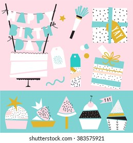 Collection of cute funny birthday item. Wedding, anniversary, birthday, Valentin's day, party invitations. Cake, cupcakes, present boxes and gift tags.