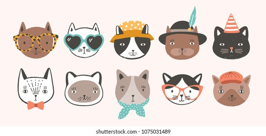 Collection of cute funny cat faces or heads wearing glasses, sunglasses and hats. Bundle of various cartoon animal muzzles isolated on light background. Colorful hand drawn vector illustration
