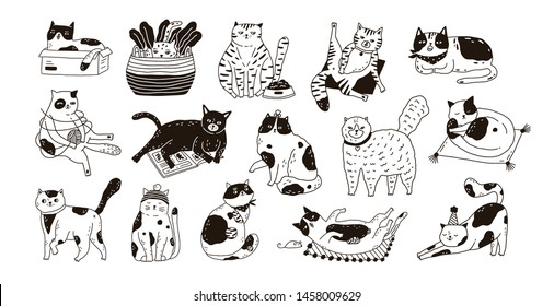Collection of cute funny cats sitting, washing, stretching itself, playing. Bundle of adorable purebred pet animals hand drawn with contour lines on white background. Monochrome vector illustration.