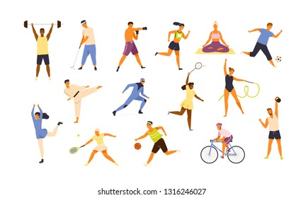 Collection of cute funny men and women performing various sports activities. Bundle of happy training or exercising people isolated on white background. Vector illustration in flat cartoon style. - Shutterstock ID 1316246027