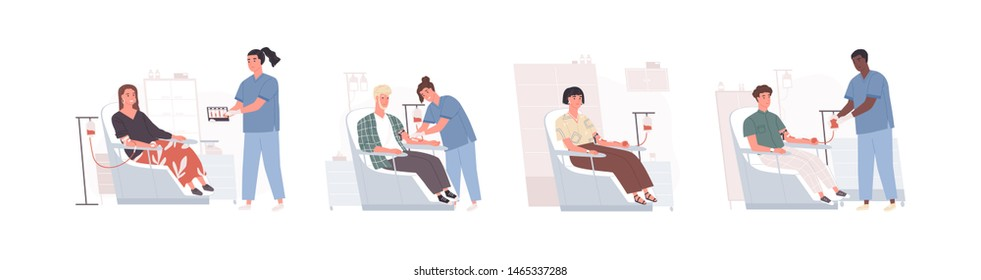Collection of cute funny men and women sitting in chairs and donating blood and doctors collecting it. Bundle of smiling male and female donors at medical center. Flat cartoon vector illustration.