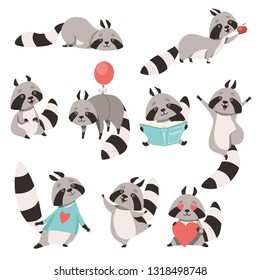 Collection of Cute Funny Raccoon Animal Cartoon Character in Different Situations Vector Illustration
