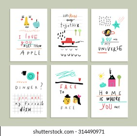 Collection of cute funny romantic cards. Wedding, anniversary, birthday, Valentin's day, party invitations. Isolated.
