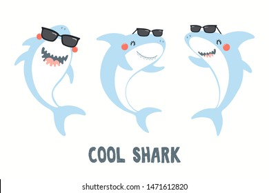 Collection of cute funny sharks in sunglasses, with quote Cool Shark. Isolated objects on white background. Hand drawn vector illustration. Flat style design. Color drawing. Concept for children print