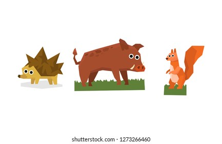 Collection of cute geometric animals, hedgehog, boar, squirrel vector Illustration