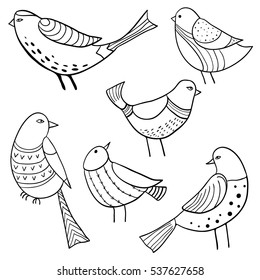 Collection of cute hand drawn birds. Vector set of sketch style doodle birds. Black and white, monochrome illustration
