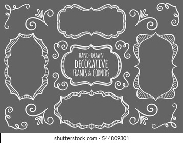Collection of cute hand drawn frames and calligraphic elements. Blackboard background. Decorative elements set. Vector illustration.