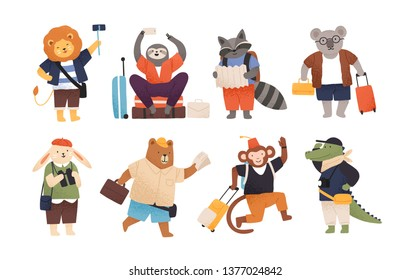 Collection of cute happy wild animals tourists or travellers. Bundle of funny amusing cartoon characters with baggage or luggage going on trip or vacation. Flat childish vector illustration.