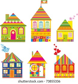 Collection of cute houses in a whimsical childlike style. Isolated on White Background. Vector Illustration.
