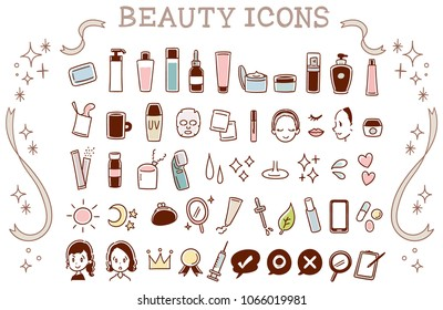 A collection of cute icons about skin care. Handwriting style