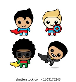 collection of cute kawaii superhero character
