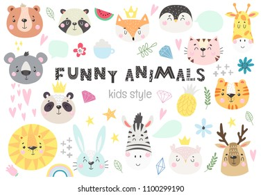Collection of cute kids animals with funny decorative elements. Vector illustration