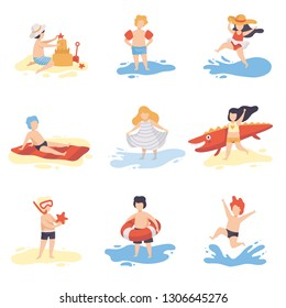 Collection of Cute Kids in Bathing Suits Playing and Having Fun on Beach on Summer Holidays Vector Illustration