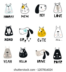 Collection of cute kids cartoon animal faces and hand drawn lettering. Set of wild characters in scandinavian style.