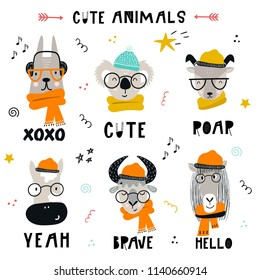 Collection of cute kids cartoon animals with clothes, accessories and lettering. Set of wild characters in scandinavian style.