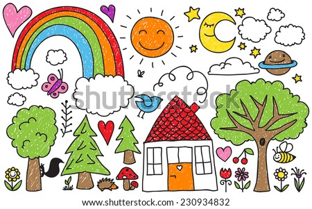 Collection Cute Kids Drawings Animals Plants Stock Vector Royalty