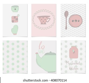 Collection of cute kitchen equipment. Hand drawn cards for your design. Tableware in pastel colors. Cards with Kitchen and background with dots
