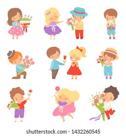 Collection of Cute Little Boys Giving Flowers to Lovely Girls Cartoon Vector Illustration