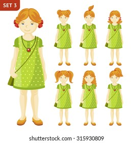Collection of cute little girls with different hairstyles. Full-length portrait.