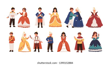 Collection of cute little princes and princesses isolated on white background. Bundle of happy children dressed as kings and queens for carnival or royal ball. Flat cartoon vector illustration.