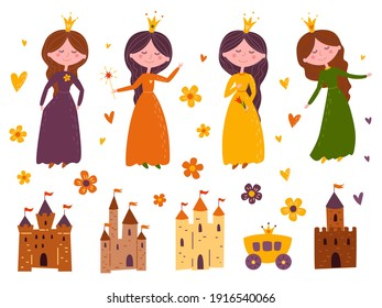 Collection of cute little princesses, magic castles Fairy carriage, flowers and hearts. Cartoon childrens illustration.