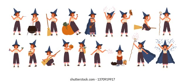 Collection of cute little witch in hat flying on broom, making magic potion in pot, reading books. Set with girl practicing witchcraft isolated on white background. Flat cartoon vector illustration.