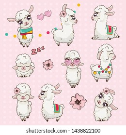 Collection Cute Llama Alpaca Vicuna Set Kawaii. Sticker Pak Cute Animals. Lama with Big Eyes Examines, Bowed her Head, Sleeps, Wore Rose-colored Glasses. Gentle Llama with White Wool.