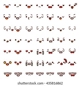Collection of cute lovely emoticon emoji Doodle cartoon face angry, happy, wink, fun, sad, shock, cry, in love, smile, laugh,kiss isolated on white in childlike manga cartoon style - Vector file EPS10