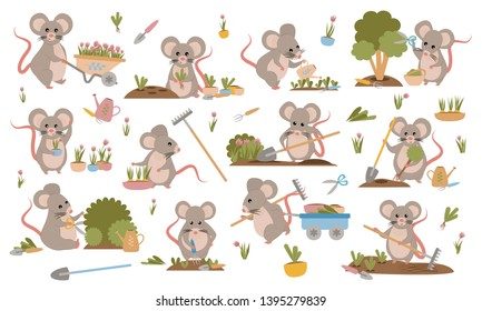 A collection of cute mice in various poses. Mouse gardeners plant plants, weed beds, watering seedlings, pruning bushes and trees, working in the garden. Set of cute animals. Vector illustration. 2020