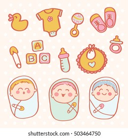 a collection of cute newborn baby and icons