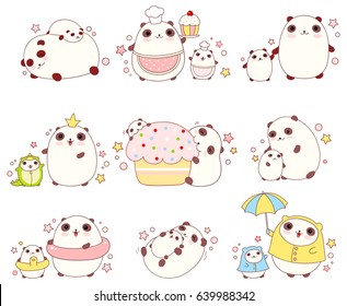 Collection of cute pandas with cubs in different situations (sleeping, eating, bathing, walking outdoor) and costumes (chef, king, dragon), in kawaii style. EPS8
