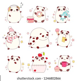 Collection of cute pandas in different situations (sleeping, eating, walking) in kawaii style. EPS8