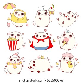 Collection of cute pandas in different situations (sleeping, eating, bathing, walking outdoor) and costumes (chef, superhero), in kawaii style