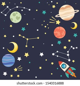 The collection of cute planet and star and rocket ship on the dark blue background look like space in flat vector style.