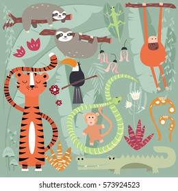 Collection of cute rain forest animals, tiger, snake, sloth, monkey, vector illustration