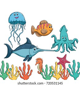 collection of cute sea animal with colorful decoration and using colored hand drawn style