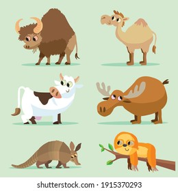 Collection of cute, simple animal vector cartoons, including a bison, a camel, a cow, a moose, an armadillo and a sloth