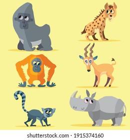 Collection of cute, simple animal vector cartoons, including a gorilla, a hyena, an orang-utan, an impala, a lemur and a rhino