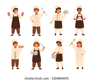 Collection of cute smiling children cooks or kids chefs. Bundle of young kitchen workers cooking and serving meals, boys and girls wearing uniform and toques. Flat cartoon vector illustration.
